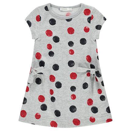 Κοντομάνικο φόρεμα από φανέλα με κόκκινα και μαύρα πουά