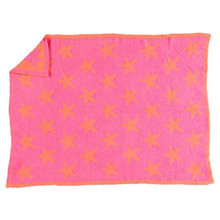 Δίχρωμο κουβερτάκι από σενίλ με αστεράκια σε στιλ ζακάρ