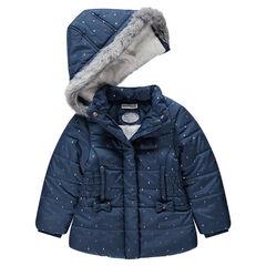 Καπιτονέ μπουφάν με επένδυση από sherpa και αφαιρούμενη κουκούλα