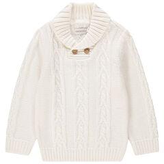 Πλεκτό πουλόβερ με μονοκόμματο γιακά και διαφορετικές πλέξεις