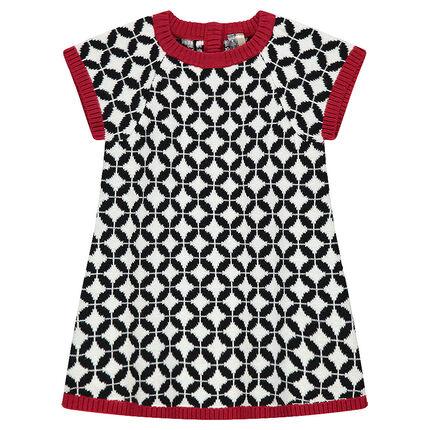 Κοντομάνικο πλεκτό φόρεμα με ζακάρ σχέδιο