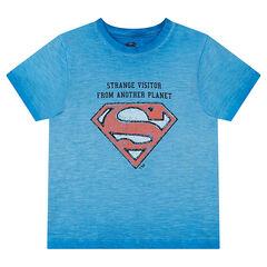 Κοντομάνικη μπλούζα με όψη ξεβαμμένου και το λογότυπο του Superman της ©Warner