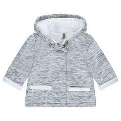 Παλτό από φανέλα με κουκούλα και επένδυση από sherpa