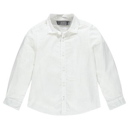 Μονόχρωμο μακρυμάνικο βαμβακερό πουκάμισο