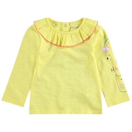 Μακρυμάνικη ζέρσεϊ μπλούζα με στάμπες και βολάν