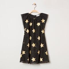 Κοντομάνικο γιορτινό φόρεμα από τούλι με χρυσαφί αστέρια