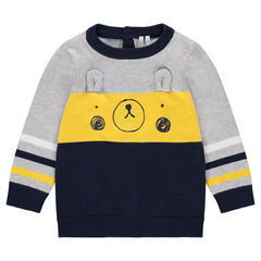Πλεκτό πουλόβερ με τυπωμένο αρκουδάκι και ανάγλυφα αυτάκια