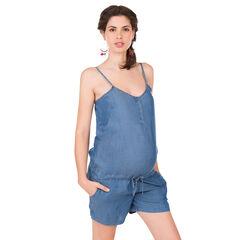 Ολόσωμη φόρμα εγκυμοσύνης με σορτς από ύφασμα tencel