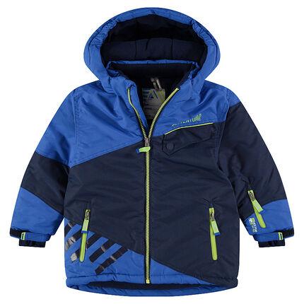 Δίχρωμο μπουφάν του σκι με φερμουάρ στις τσέπες και τυπωμένα σήματα