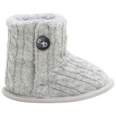 Πλεκτές χαμηλές μπότες με κοτσίδες και γούνινη επένδυση