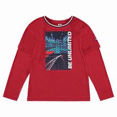 Παιδικά - Μακρυμάνικη μπλούζα με εφέ 2 σε 1 και στάμπα μπροστά