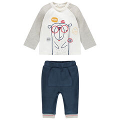Δίχρωμο σύνολο μπλούζα με στάμπα αρκουδάκι και παντελόνι με τσέπη