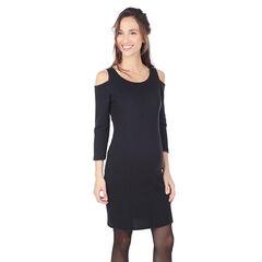 Φόρεμα εγκυμοσύνης μονόχρωμο με άνοιγμα στους ώμους