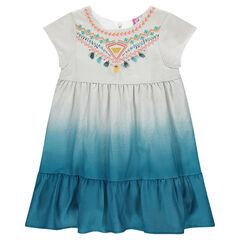 Κοντομάνικο φόρεμα με κέντημα, πον-πον και ντεγκραντέ εφέ dip dye