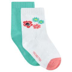 Σετ με 2 ζευγάρια ασορτί κάλτσες, 1 ζευγάρι μονόχρωμες / 1 ζευγάρι με λουλούδια