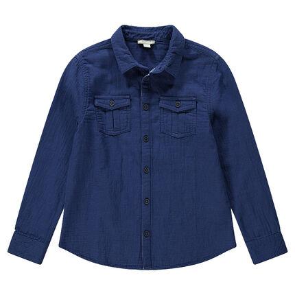 Βαμβακερό πουκάμισο με ανάγλυφη ύφανση και τσέπη με κουμπί