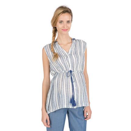 Αμάνικο πουκάμισο εγκυμοσύνης με διακοσμητικές ρίγες