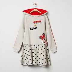 Μακρυμάνικο φόρεμα με κουκούλα από φανέλα και στάμπα με τη Minnie της Disney