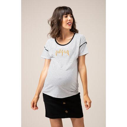 Ριγέ κοντομάνικη μπλούζα από ζέρσεϊ με κεντημένη φράση