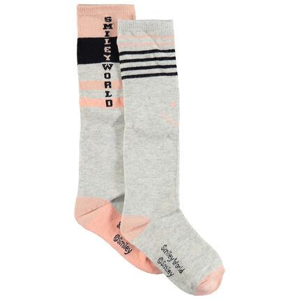 Σετ 2 ζευγάρια ψηλές κάλτσες με ζακάρ ρίγες και μοτίβο Smiley