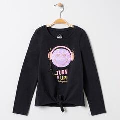 T-shirt manches longues à nouer motif Smiley en sequins