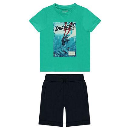 Σύνολο μπλούζα με στάμπα δεινόσαυρο και μονόχρωμη βερμούδα