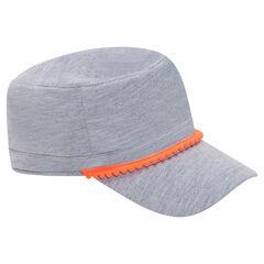 Καπέλο σε στιλ κουβανέζικο από φανέλα με σιρίτι σε χρώμα που κάνει αντίθεση και φουντίτσες