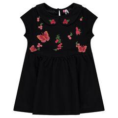 Φόρεμα με στρογγυλό γιακά και φλοράλ κεντήματα μπροστά