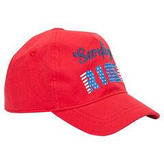 Καπέλο από τουίλ με τυπωμένα και κεντημένα γράμματα