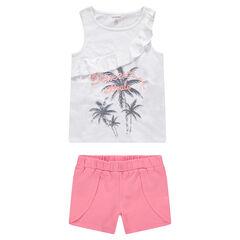 Παιδικά - Ζέρσεϊ σύνολο αμάνικο μπλουζάκι με τύπωμα φοίνικες και μονόχρωμο σορτς