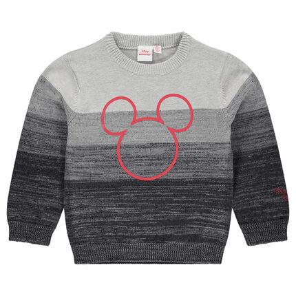 Πλεκτό πουλόβερ με λωρίδες και στάμπα τον Μίκυ της ©Disney