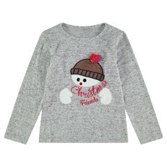 Χριστουγεννιάτικη μακρυμάνικη μπλούζα με κεντημένο χιονάνθρωπο
