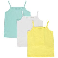 Σετα από 3 αμάνικα μπλουζάκια μ ελεπτές τιράντες και τυπωμένο logo