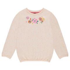 Φανελένιο φούτερ με μπουκλέ ύφανση και τυπωμένα λουλούδια