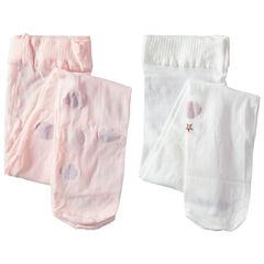 Σετ 2 λεπτά καλσόν με φαντεζί μοτίβα, ένα ανοιχτό ροζ / ένα λευκό