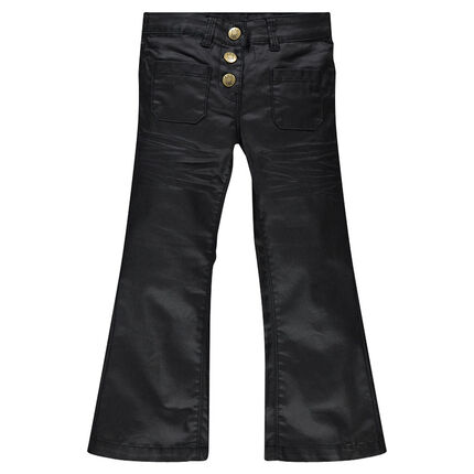 Pantalon bootcut en twill enduit taille haute