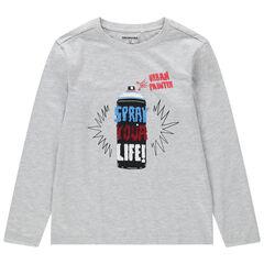 Παιδικά - Μακρυμάνικη ζέρσεϊ μπλούζα με τύπωμα και πούλιες