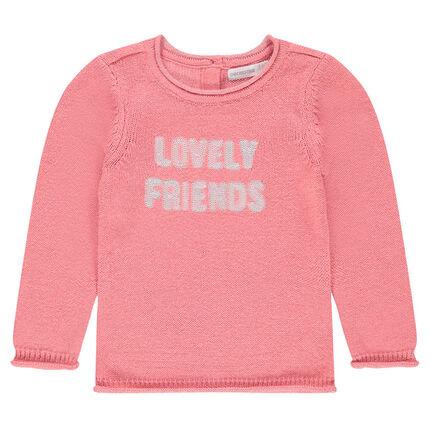 Μονόχρωμο πλεκτό πουλόβερ με μήνυμα από παγιέτες