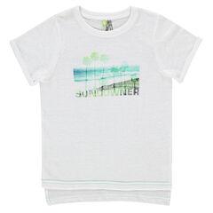 Κοντομάνικη ασύμμετρη μπλούζα με τύπωμα τοπίο