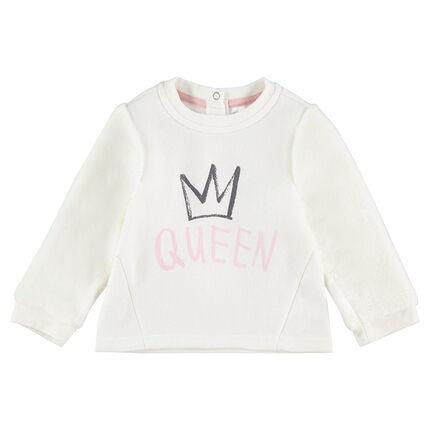 Φανελένιο φούτερ με μοτίβο και τυπωμένο μήνυμα «Queen»