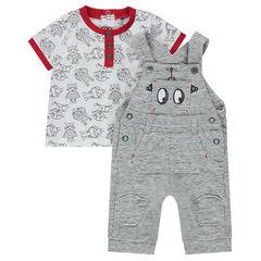 Κοντομάνικη μπλούζα με μοτίβο ρομπότ και σαλοπέτα από φανέλα
