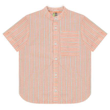 Κοντομάνικο πουκάμισο με ρίγες και τσέπη