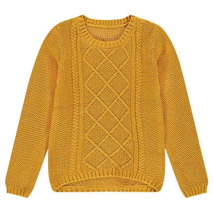 Παιδικά - Πλεκτό μουσταρδί πουλόβερ με διάφορες πλέξεις