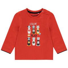 T-shirt manches longues en coton bio print animaux , Orchestra