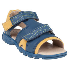Nu-pieds bicolores en cuir à scratchs