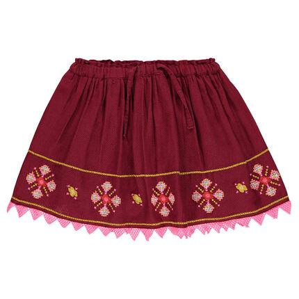 Εβαζέ φούστα με κεντήματα από βουάλ ύφασμα