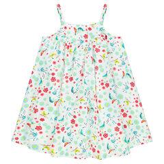 Φόρεμα με λεπτές τιράντες και φλοράλ μοτίβο σε όλη την επιφάνεια