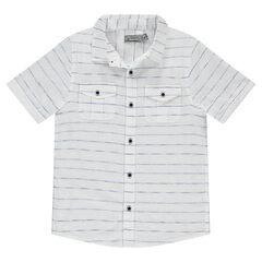 Παιδικά - Κοντομάνικο πουκάμισο με λεπτές ρίγες και τσέπες