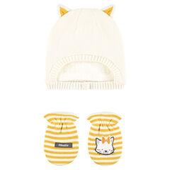 Σετ με σκούφο με επένδυση sherpa και ριγέ ενιαία γάντια με στάμπα γάτα
