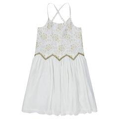 Φόρεμα με λεπτές τιράντες με λουλούδια από δαντέλα και χρυσαφί νότες